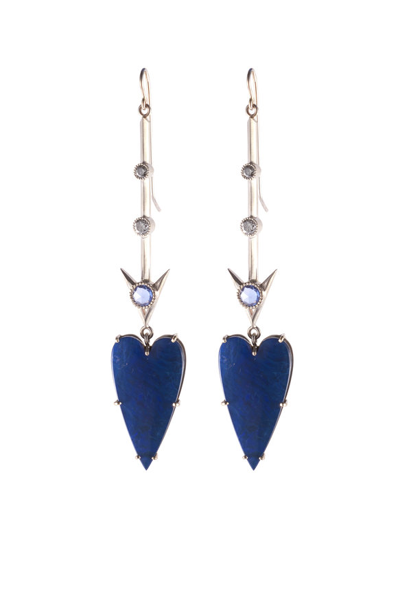 Sylva & Cie White Gold Opal, Sapphire & Diamond Heart Earrings