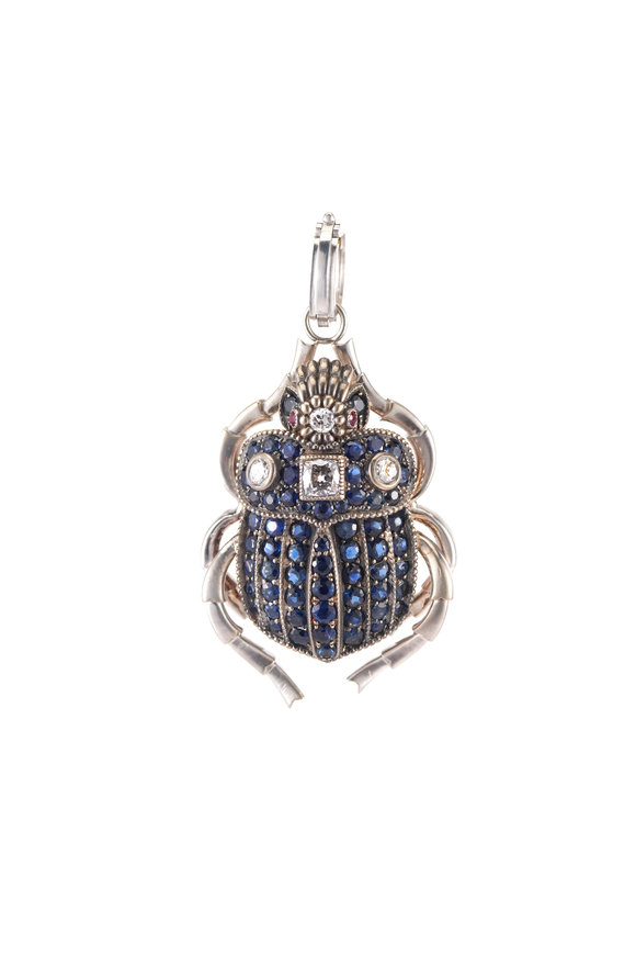 Sylva & Cie White Gold Sapphire, Ruby & Diamond Bug Pendant