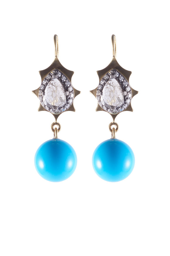 Sylva & Cie Gold & Silver Turquoise & Diamond Drop Earrings