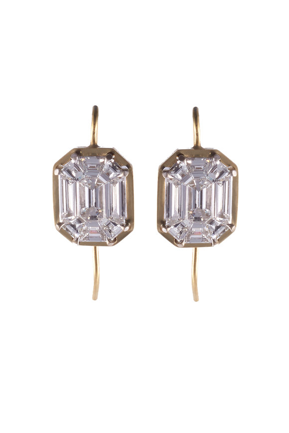 Sylva & Cie 18K Yellow Gold Mosaic Diamond Earrings