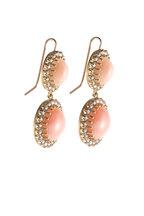 Sylva & Cie - Yellow Gold Gray Diamond & Coral Drop Earrings