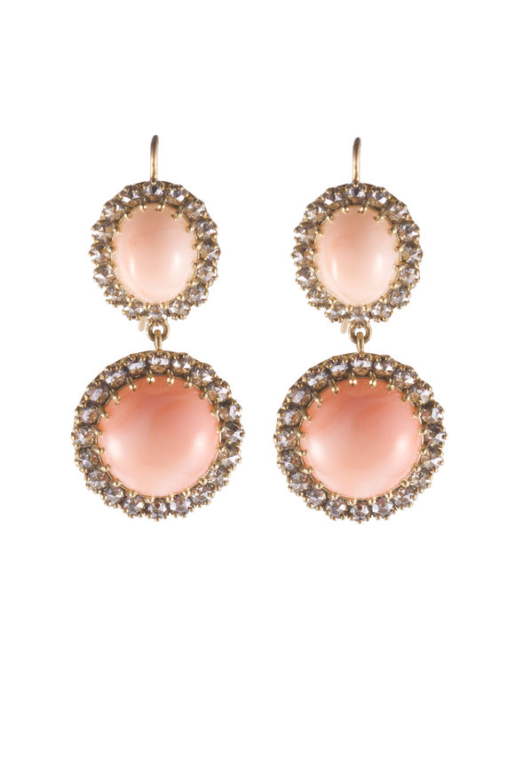 Sylva & Cie Yellow Gold Gray Diamond & Coral Drop Earrings