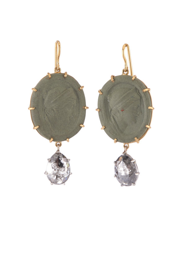 Sylva & Cie Lava Cameo Single Drop Diamond Earrings