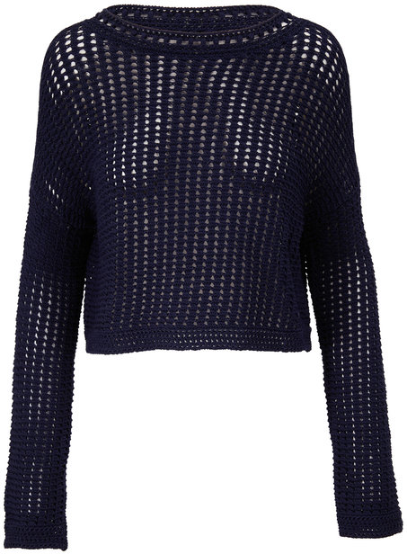 Vince Navy Cotton Crochet Crewneck Sweater