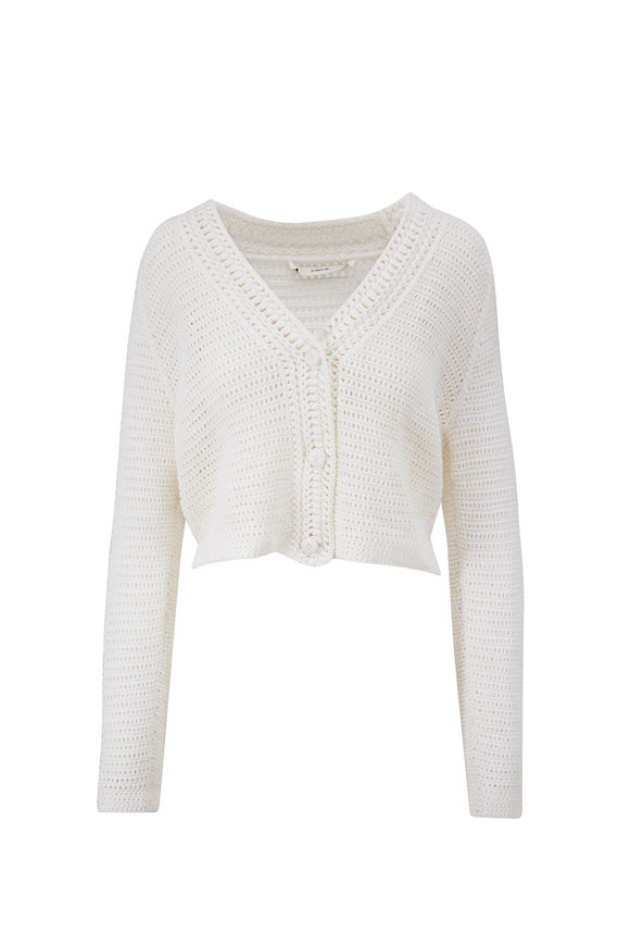 Vince Optic White Cotton Crochet Cardigan