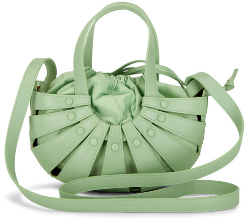Bottega Veneta The Shell Pistachio Leather Mini Basket Bag