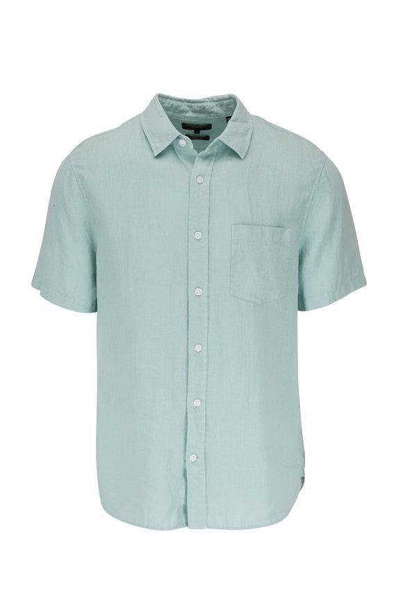 Vince Poolside Blue Short Sleeve Linen Shirt
