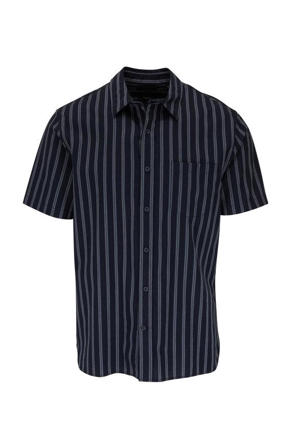 Vince Coastal Variegated Bar Stripe Short Sleeve Shirt