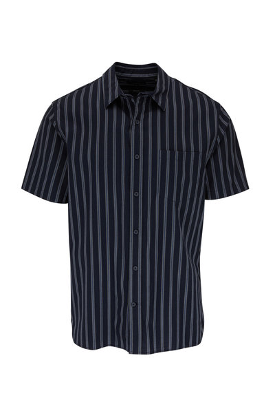 Vince - Coastal Variegated Bar Stripe Short Sleeve Shirt