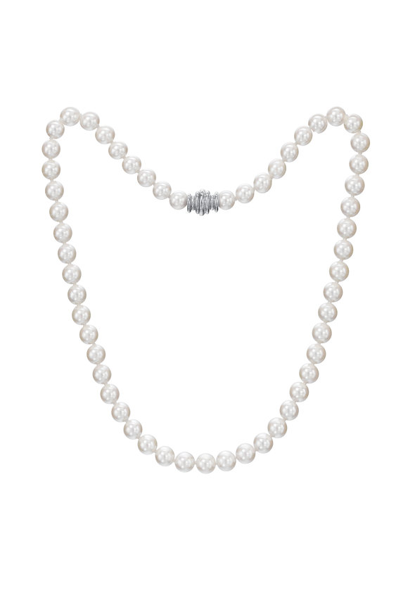Assael White Gold Japanese Akoya Pearl Necklace