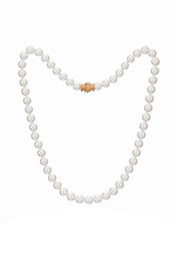 Assael Yellow Gold Japanese Akoya Pearl Necklace