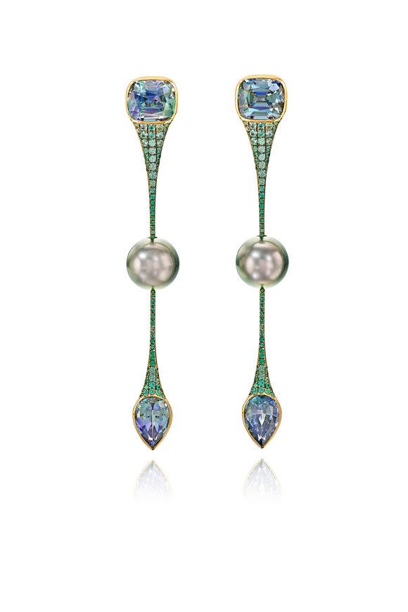 Assael Tahitian Pearl, Tanzanite & Garnet Earrings
