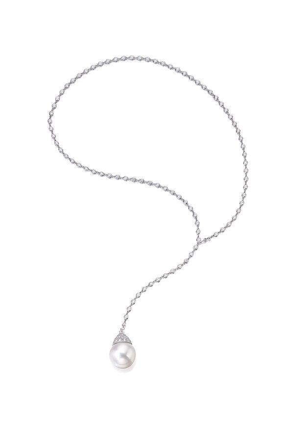 Assael Platinum Diamond & South Sea Pearl Lariat Necklace