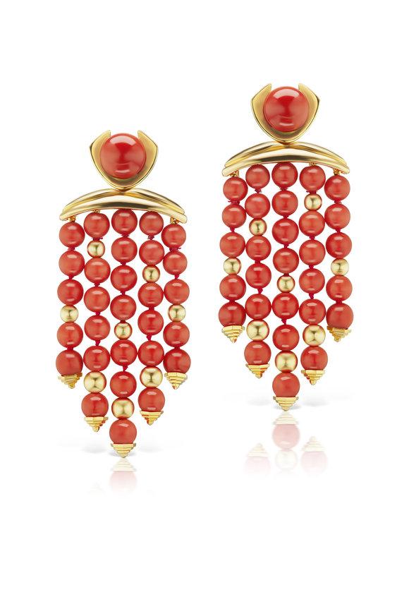 Assael 18K Yellow Gold Sardinian Coral Fringe Earrings