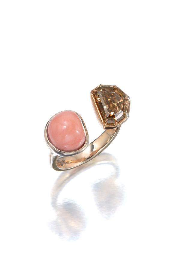 Assael 18K Rose Gold Brown Diamond & Coral Ring