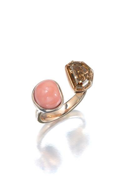 Assael - 18K Rose Gold Brown Diamond & Coral Ring