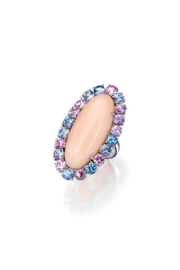Assael Platinum Lavender Angel Skin Coral & Spinel Ring