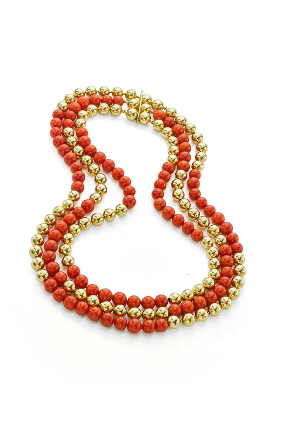 Gold Vintage Beads & Sardinian Coral Necklace
