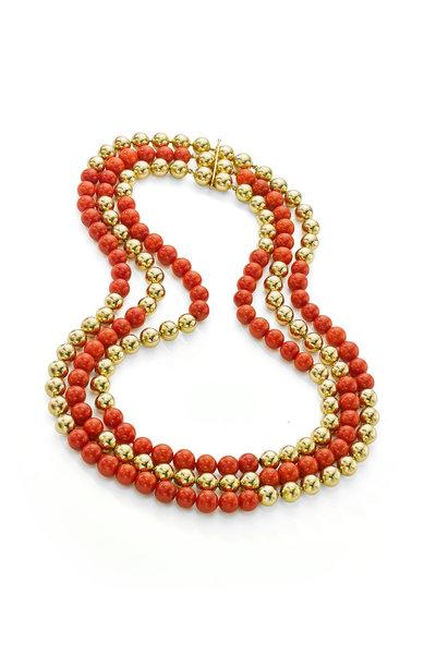 Assael - Gold Vintage Beads & Sardinian Coral Necklace