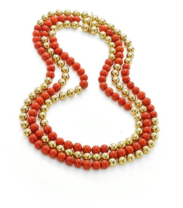Assael Gold Vintage Beads & Sardinian Coral Necklace