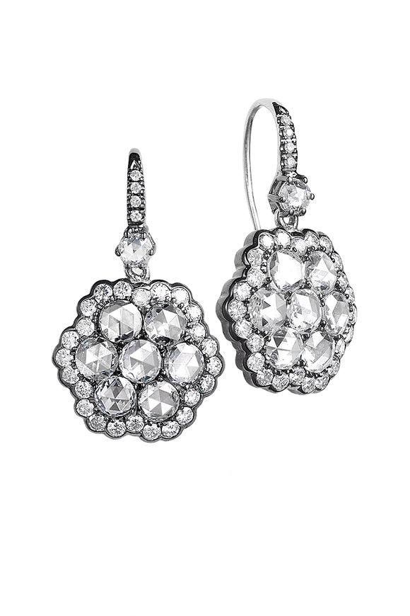 Nam Cho Blackened White Gold Diamond Flower Earrings