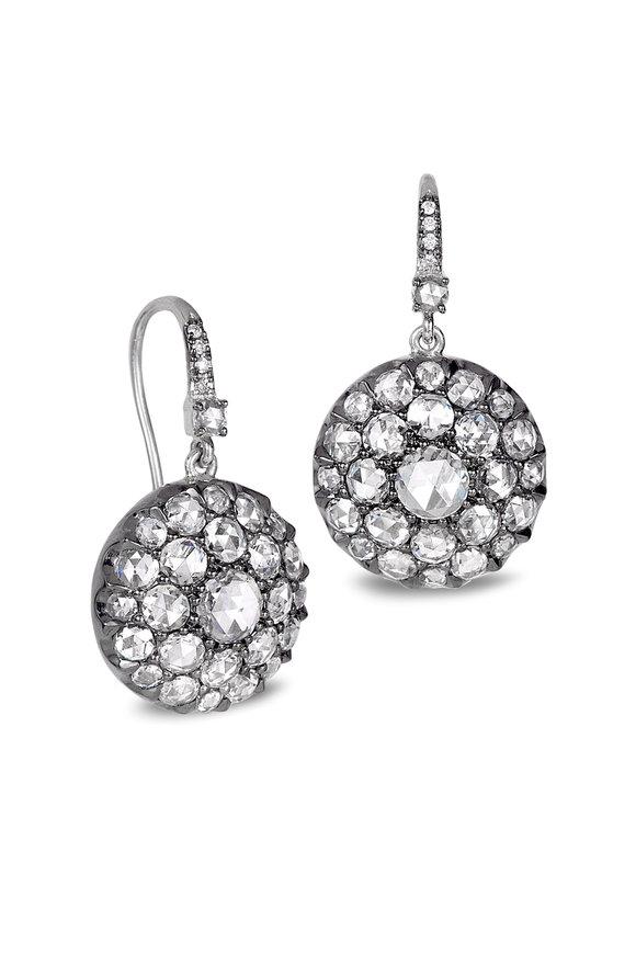 Nam Cho Blackened White Gold Diamond Drop Earrings
