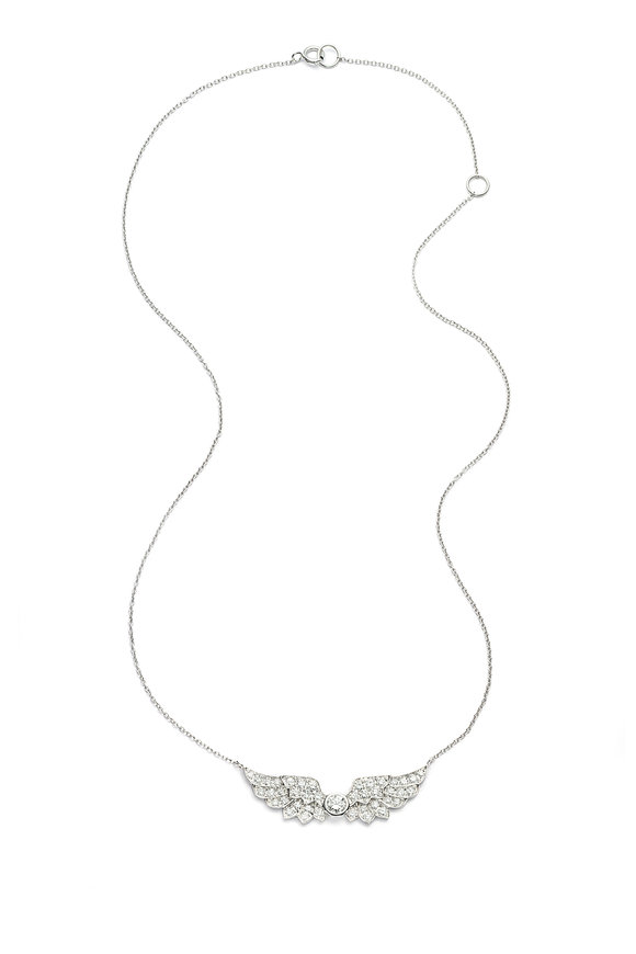 Nam Cho White Gold Diamond Wing Pendant Necklace