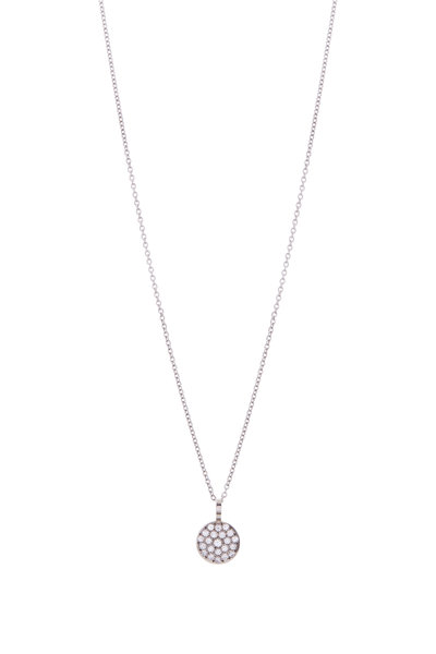 Caroline Ellen - White Gold Palladium Diamond Pendant Necklace