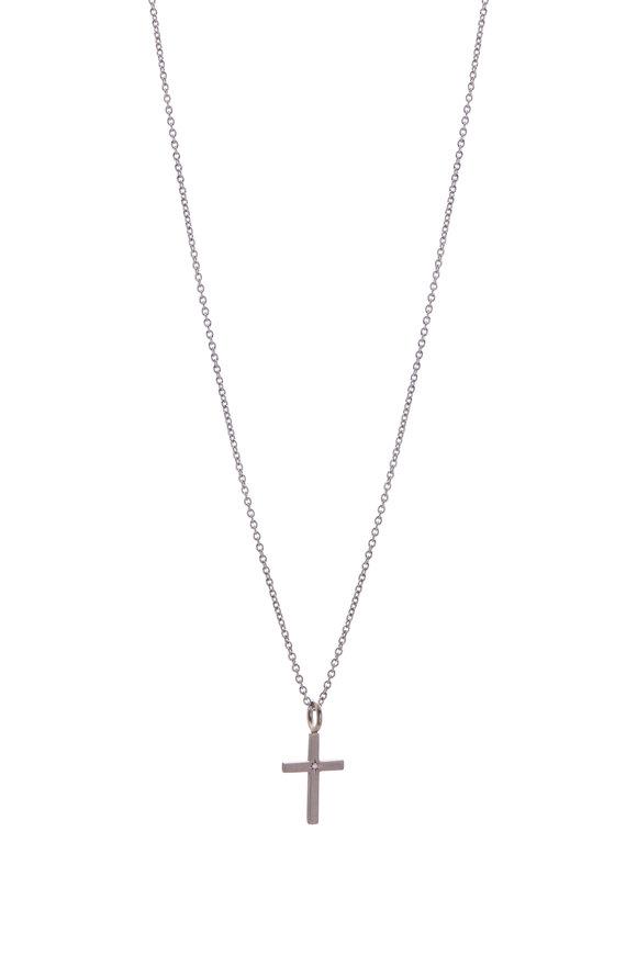 Caroline Ellen 18K White Gold Palladium Cross Pendant Necklace