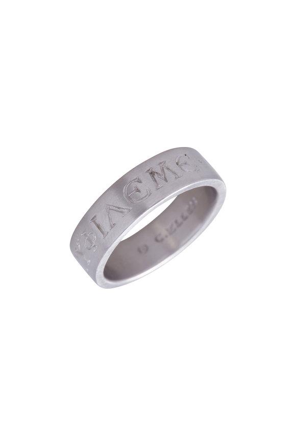 Caroline Ellen Platinum Love Me Wide Band Ring
