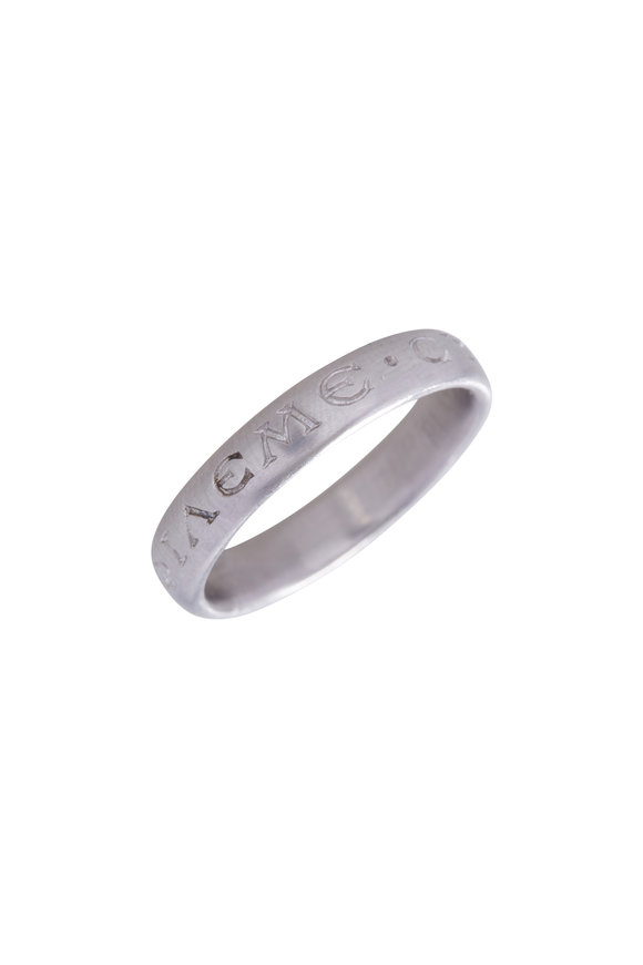 Caroline Ellen Platinum Engraved Narrow Band Ring