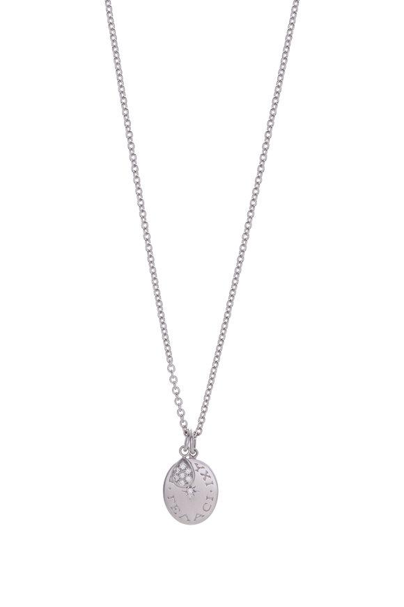 Caroline Ellen Platinum Engraved Diamond Pendant Necklace