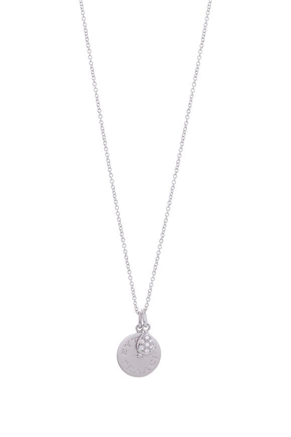 Caroline Ellen Platinum Engraved Disc & Pavé Drop Charm Necklace