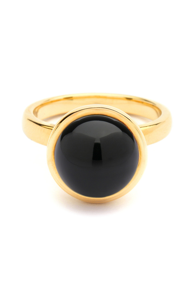 Black Onyx Gold Stacking Baubles Ring