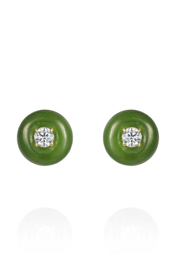 Fernando Jorge 18K Yellow Gold Diamond & Jade Orbit Studs