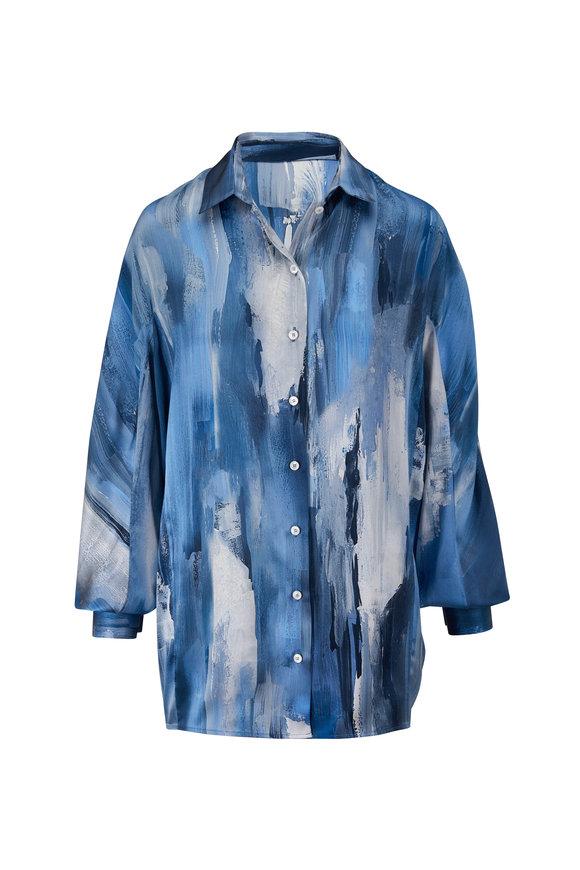 Kiton Blue Silk Blouse