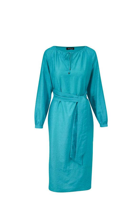 Kiton Teal Cotton & Linen Long Sleeve Dress