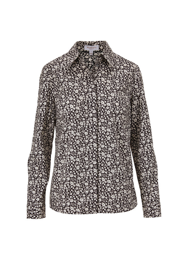 Michael Kors Collection Black Floral Button Down Shirt
