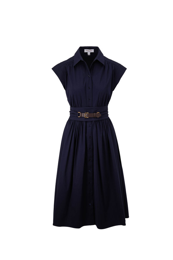Michael Kors Collection Midnight Wrap Belt Cap Sleeve Shirt Dress