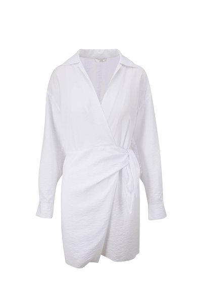 Vince - Optic White Long Sleeve Wrap Shirt Dress
