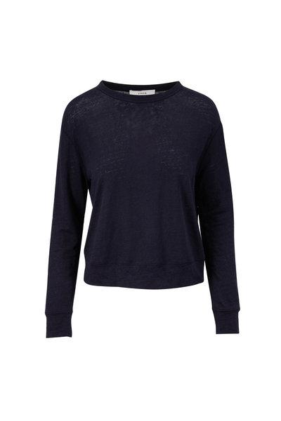 Vince - Coastal Blue Linen Long Sleeve Top