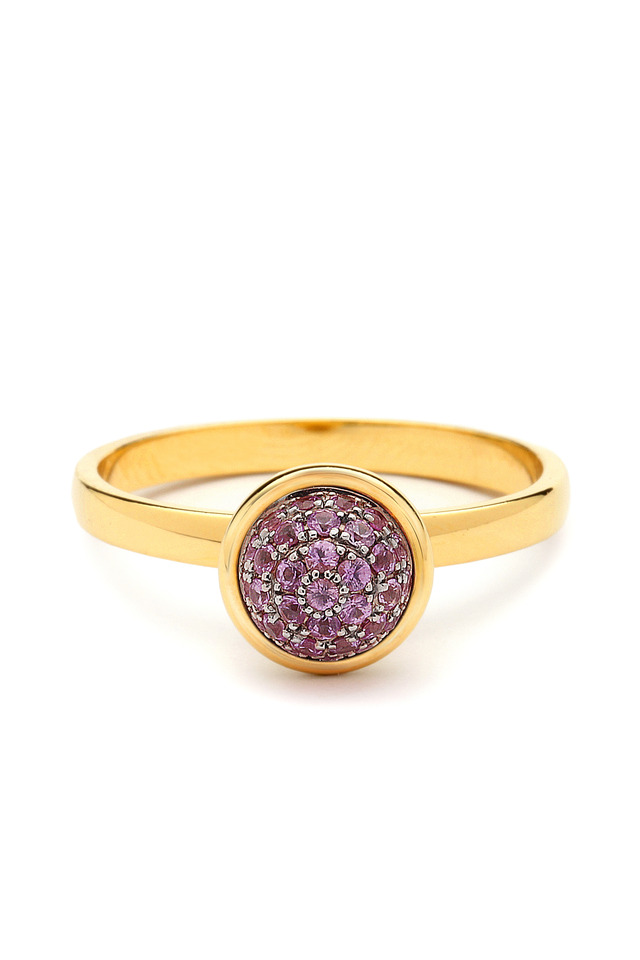 Pink Sapphire Gold Stacking Baubles Ring