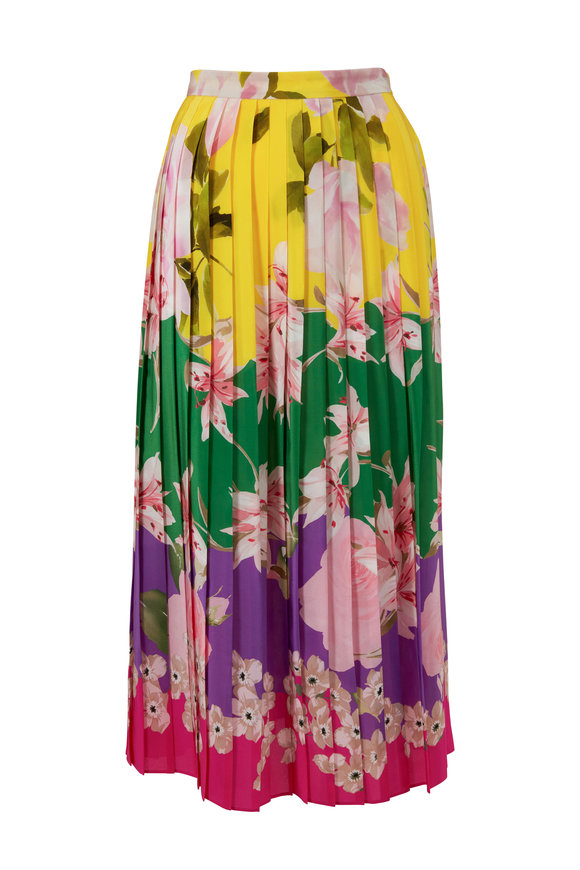 Valentino Multicolor Silk Floral Pleated Skirt