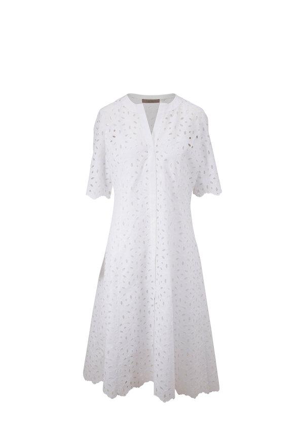 D.Exterior White Eyelet Short Sleeve Dress