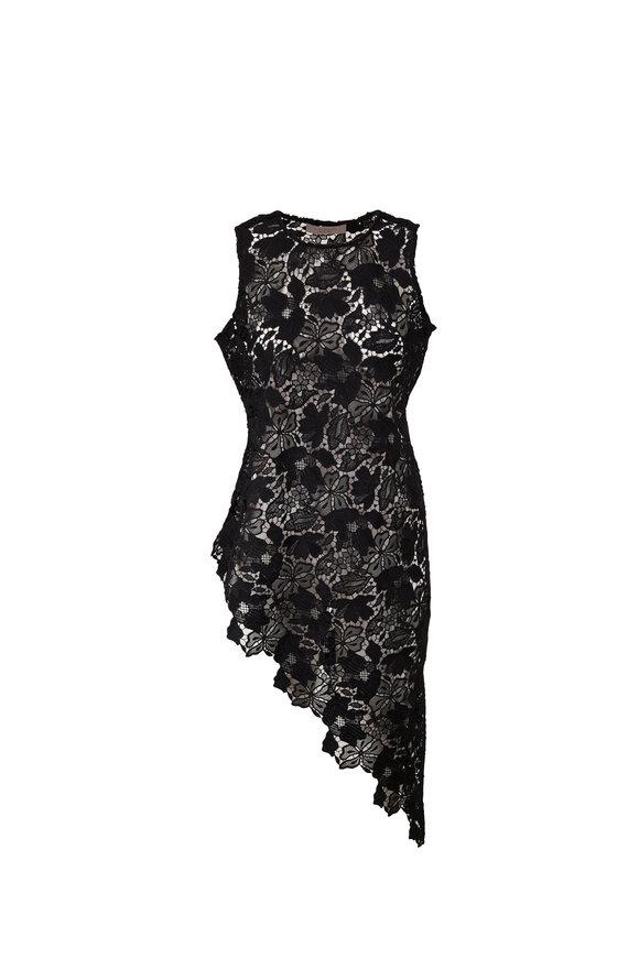 D.Exterior Black Lace Asymmetric Hem Tunic