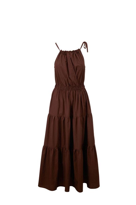 Antonelli Melissa Chocolate Cotton Tiered Maxi Dress