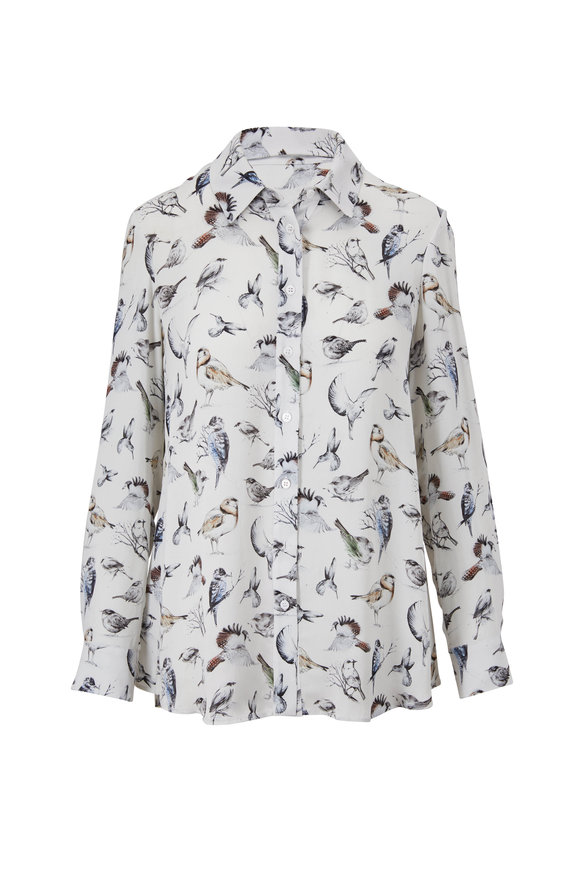 Lela Rose White Bird Print Button Down Blouse