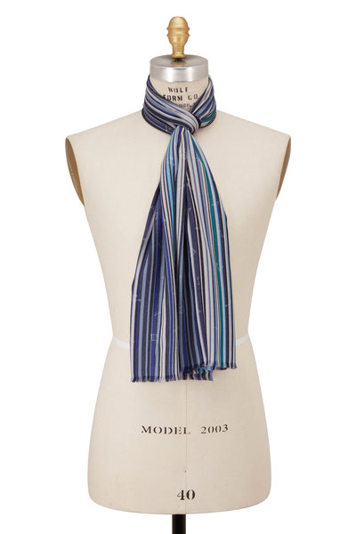 Paul Smith - Blue Multi Stripe Scarf