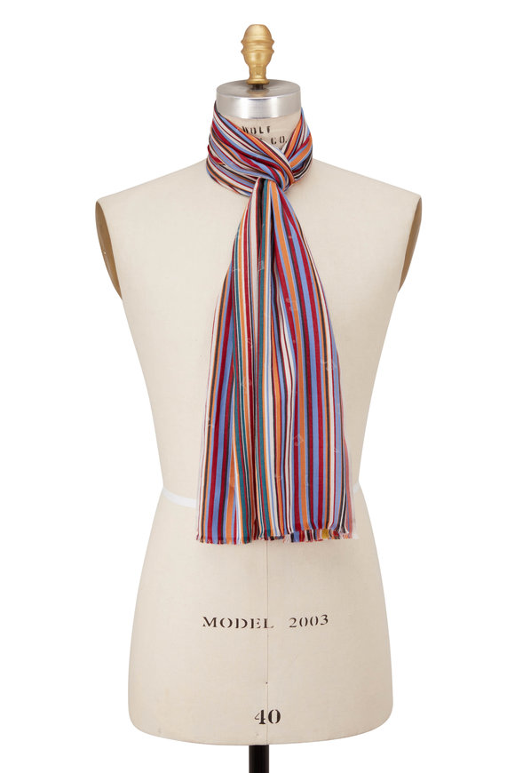 Paul Smith Red Multi Stripe & Music Note Scarf