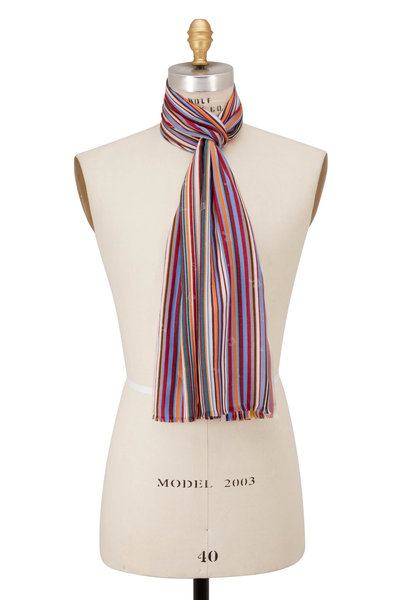 Paul Smith - Red Multi Stripe & Music Note Scarf